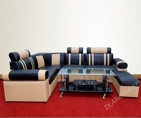 Hình ảnh mẫu bộ ghế sofa mini cỡ nhỏ mầu đen phối kem