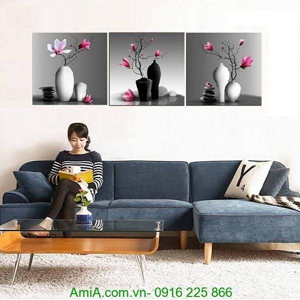 tranh treo tường bình hoa mộc lan đẹp