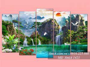 Tranh phong cảnh sơn thủy hữu tình ghép bộ 5 tấm AmiA 1421