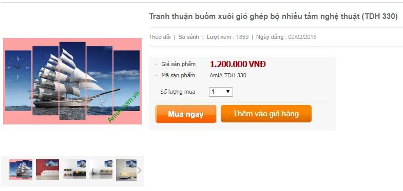 Giá bán lẻ tranh thuận buồm xuôi gió Amia 330