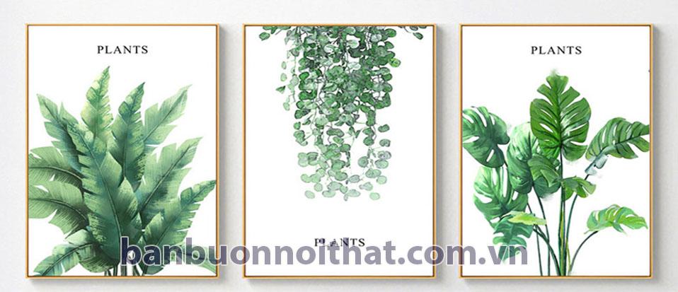 Bộ tranh lá cây chất liệu in canvas kích thước 40x60cmx3