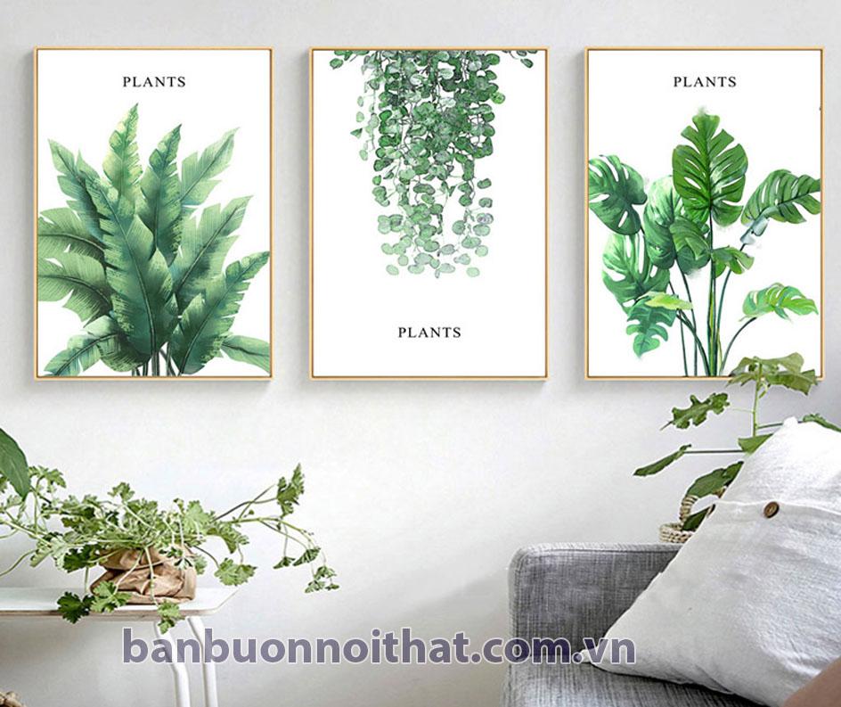 Tranh canvas màu xanh lá đặc biệt thích hợp trang trí kết hợp tông ghi sáng