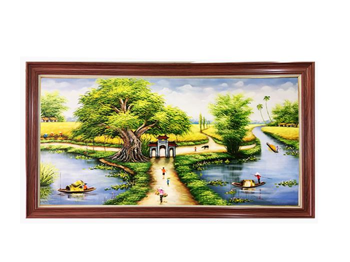 Tranh sơn dầu vẽ làng quê tuổi thơ tôi