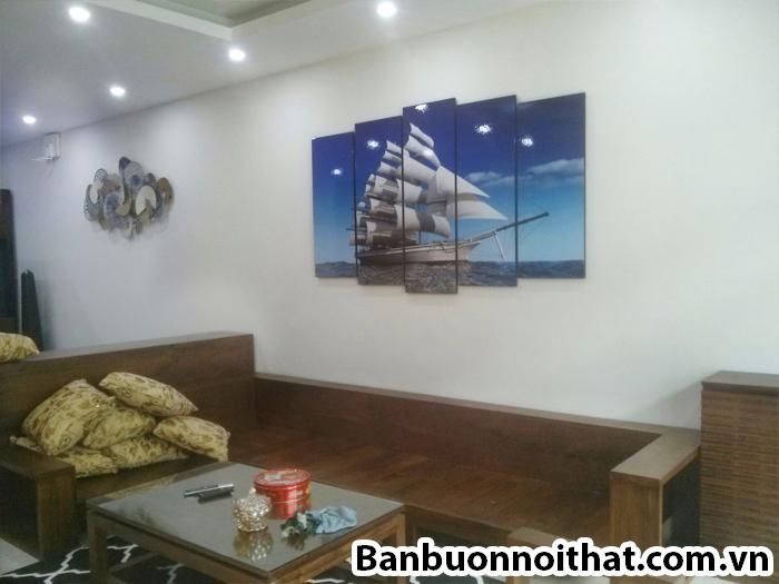 Tranh thuận buồm xuôi gió kết hợp sofa gỗ