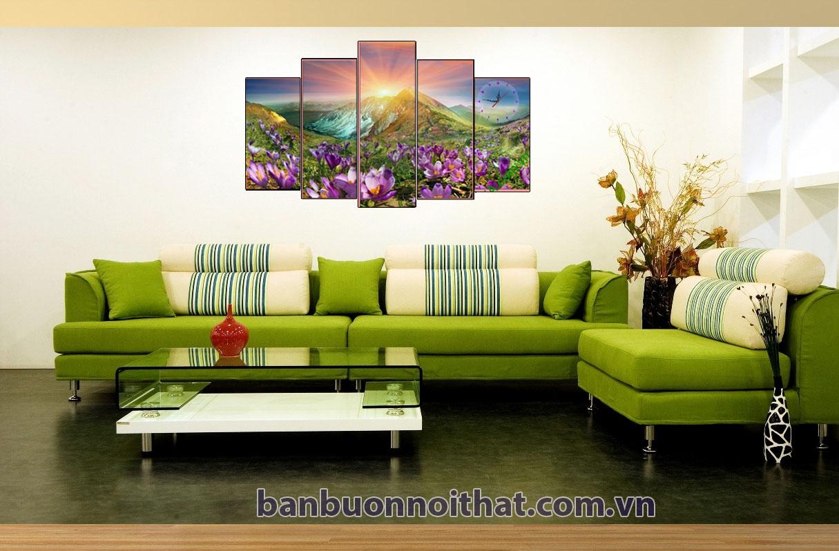 Tranh đồng hồ ghép bộ đồi nắng kết hợp sofa góc màu xanh hiện đại giúp tổ ấm thêm phần tinh tế
