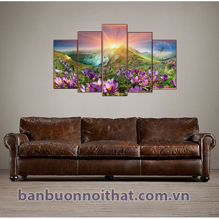 Hình ảnh tranh đồi hoa nắng Amia 279 kết hợp cùng sofa đẹp Amia