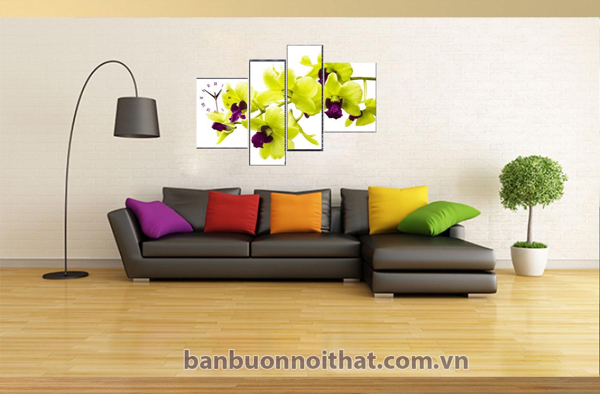 Tranh in ghép bộ hoa lan trang trí kết hợp với nội thất hiện đại