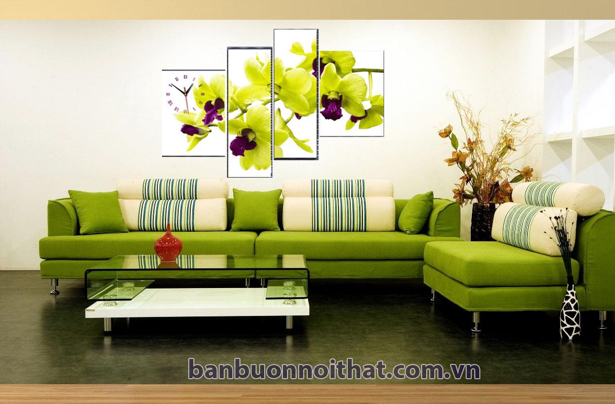 Tranh hoa lan vàng kết hợp với sofa đẹp Amia phong cách trẻ trung, hiện đại