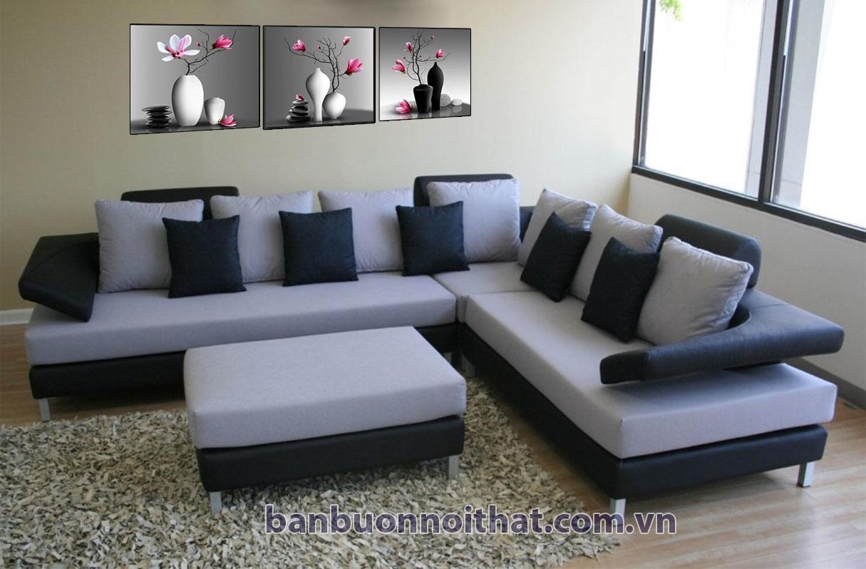Tranh hoa mộc lan kết hợp sofa chữ L