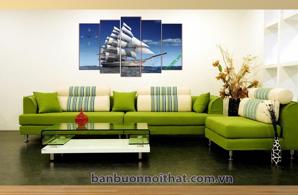 Tranh thuận buồm xuôi gió kết hợp sofa chữ L màu xanh trẻ trung
