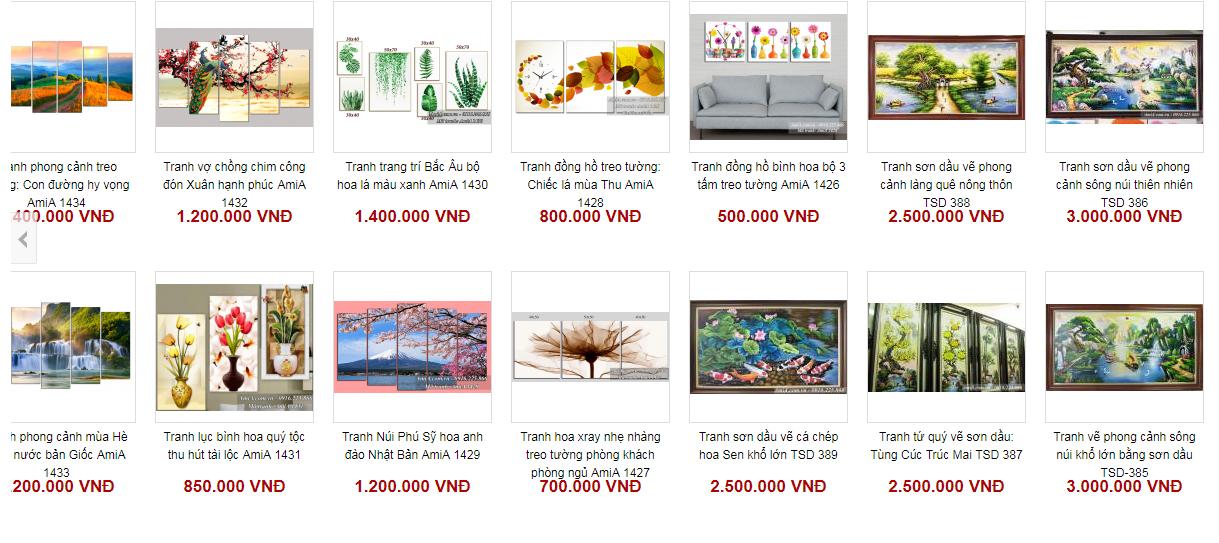 Một số hình ảnh và giá bán lẻ của tranh nội thất Amia