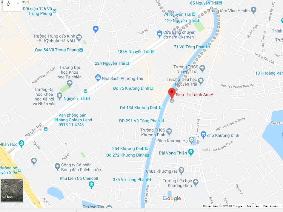 Bản đồ chỉ đường đến phòng trưng bày bán buôn bán lẻ siêu thị tranh Amia