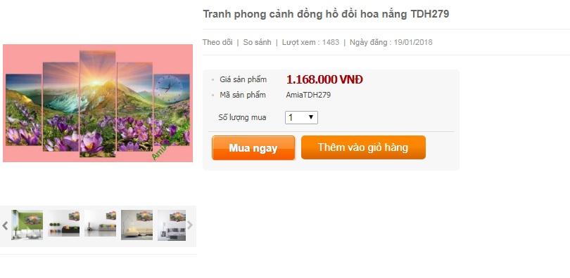 Giá bán lẻ mẫu tranh phong cảnh đồi hoa nắng tại xưởng tranh Amia