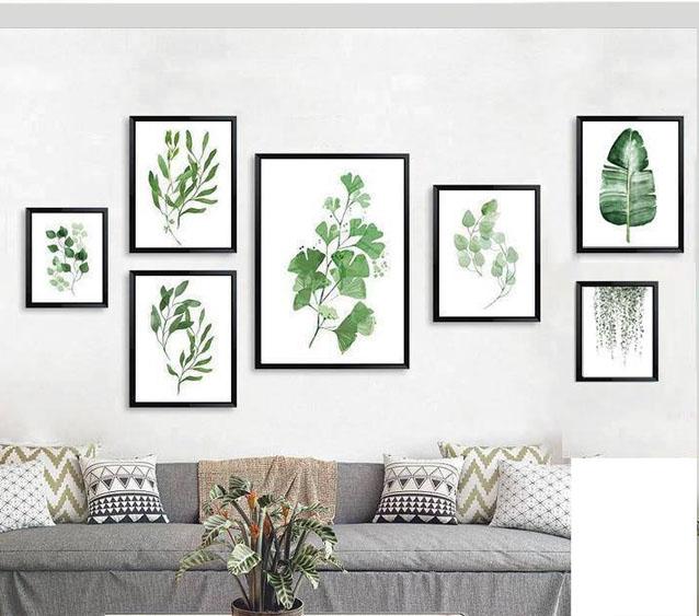 Mẫu bộ tranh canvas lá cây tại xưởng sản xuất tranh Amia Hà Nội