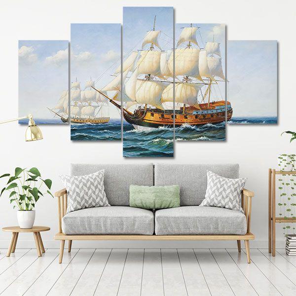 Tranh canvas phong thủy thuận buồm xuôi gió ghép bộ
