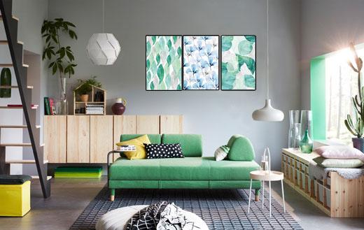 Tranh canvas phối hợp nội thất trẻ trung