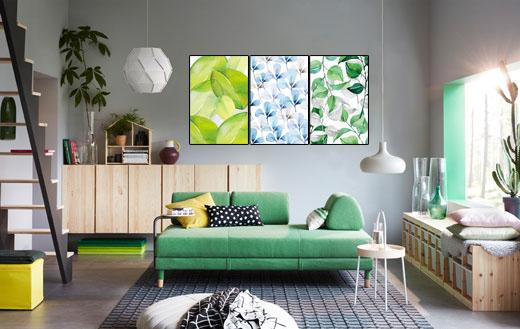 Một mảng tường đầy sức sống với tranh canvas