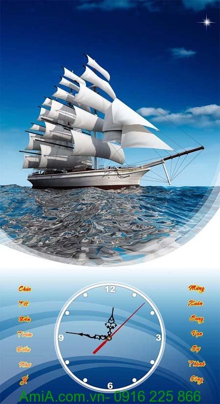Tranh đồng hồ thuận buồm xuôi gió làm quà tặng