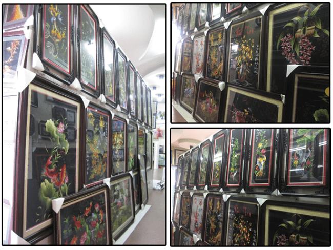 Góc tranh thêu tại phòng trưng bày Amia