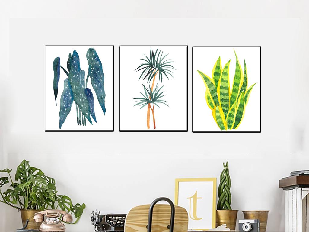 Tranh canvas trang trí phong cách Bắc Âu bộ 3 cây lá xanh AmiA 4254