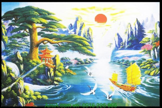 Tranh in canvas phong thủy thuận buồm xuôi gió