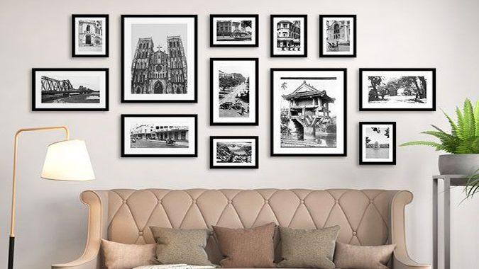 Bộ tranh phố Hà Nội đen trắng trang trí quán cà phê