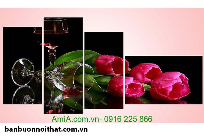 Hình ảnh hoa tulip và rượu vang làm tranh trang trí nhà bếp cực đẹp