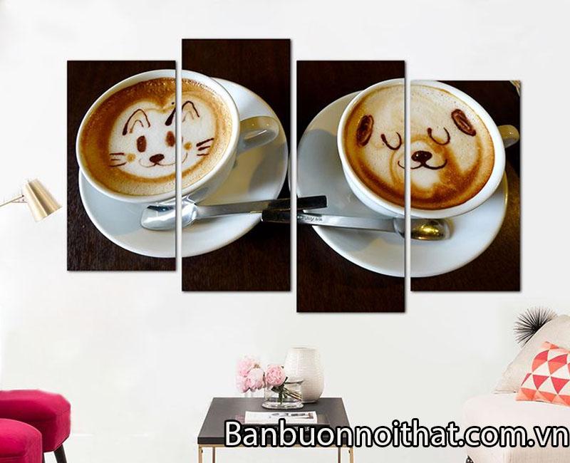 Tranh quán cà phê chất liệu in ép gỗ, có giá bán trên thị trường khoảng 750k-800k/ bộ