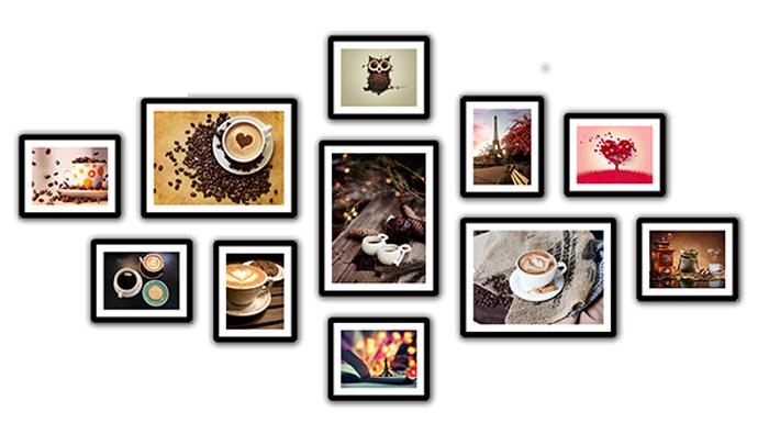 Bộ khung tranh trang trí quán cà phê có bức tường rộng chạy dài