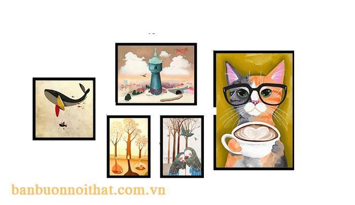 Bộ khung tranh trang trí quán cà phê, trà sữa có đối tượng khách hàng trẻ