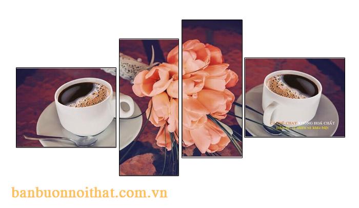 Bộ tranh cà phê uyên ương trang trí tường trống lớn