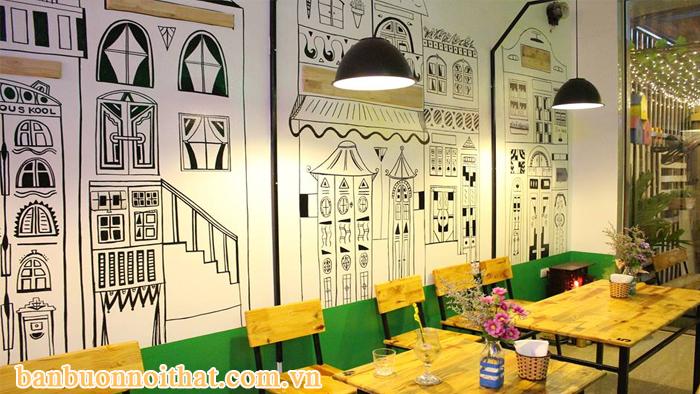 Giấy dán tường trang trí quán cafe lớn