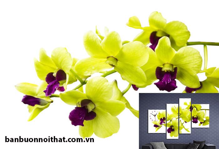 Hình ảnh hoa lan giúp tạo nên bức ảnh treo tường hoa lan vàng kết hợp đồng hồ lung linh tinh tế