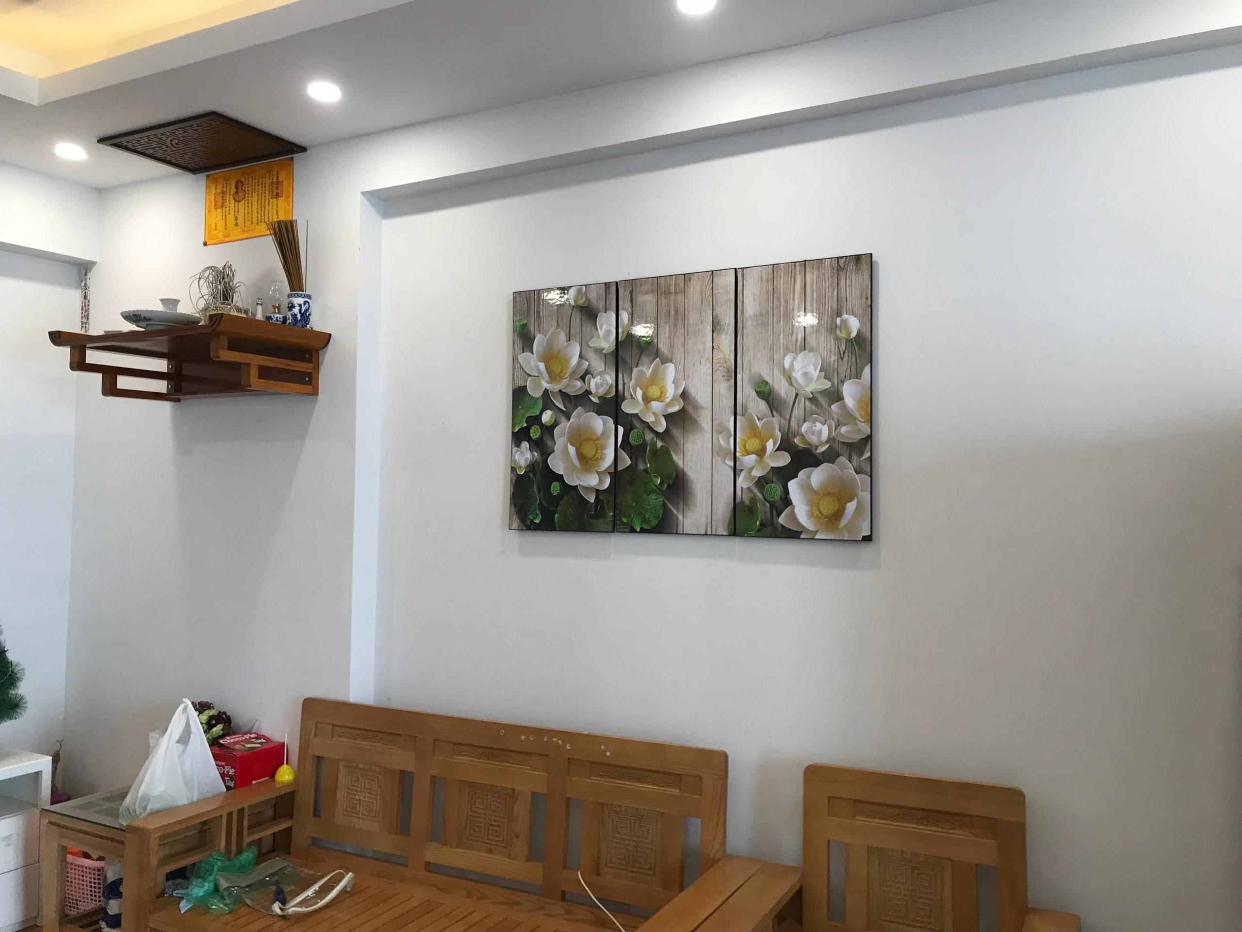 Hình ảnh tranh sen đẹp sống động được chụp tại nhà khách hàng của tranh treo tường Amia