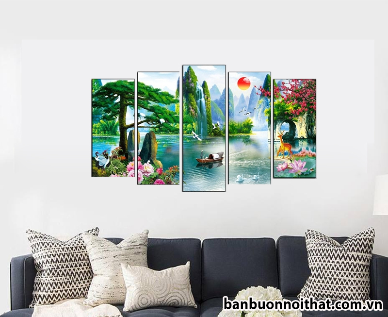 Tranh sơn thủy hữu tình được sản xuất tại xưởng sản xuất tranh Amia Hà Nội