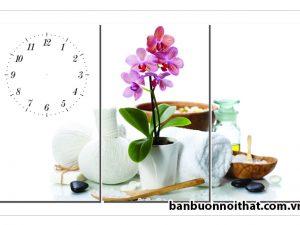 Mẫu tranh đồng hồ hoa lan đẹp trang trí Spa