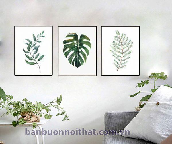 Bộ tranh canvas hình lá cây trang trí phòng khách