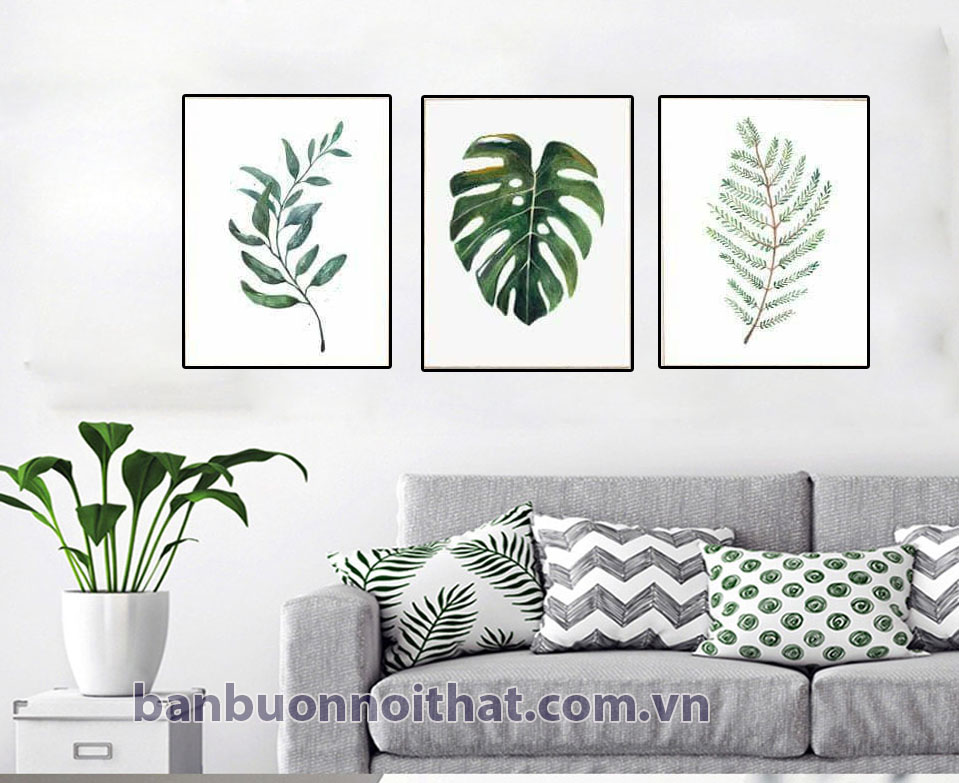 Bộ tranh canvas lá cây 3 tấm trang trí trong không gian màu ghi sang trọng