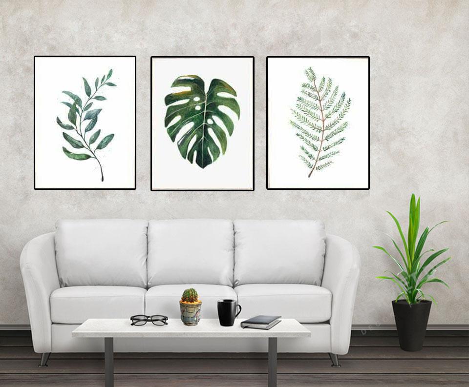 Bộ tranh canvas lá cây có thể trang trí quán cà phê với thiết kế đơn giản, xanh và trắng
