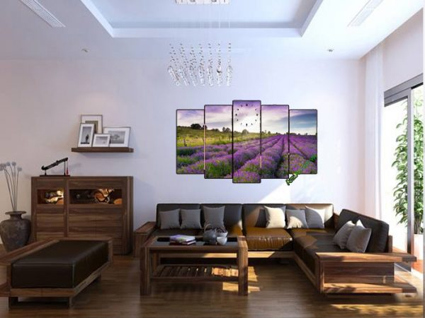 Tranh cánh đồng hoa lavender trang trí phòng khách