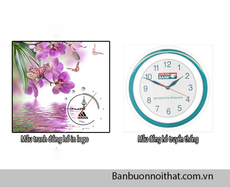 Tranh đồng hồ in logo và đồng hồ in logo truyền thống