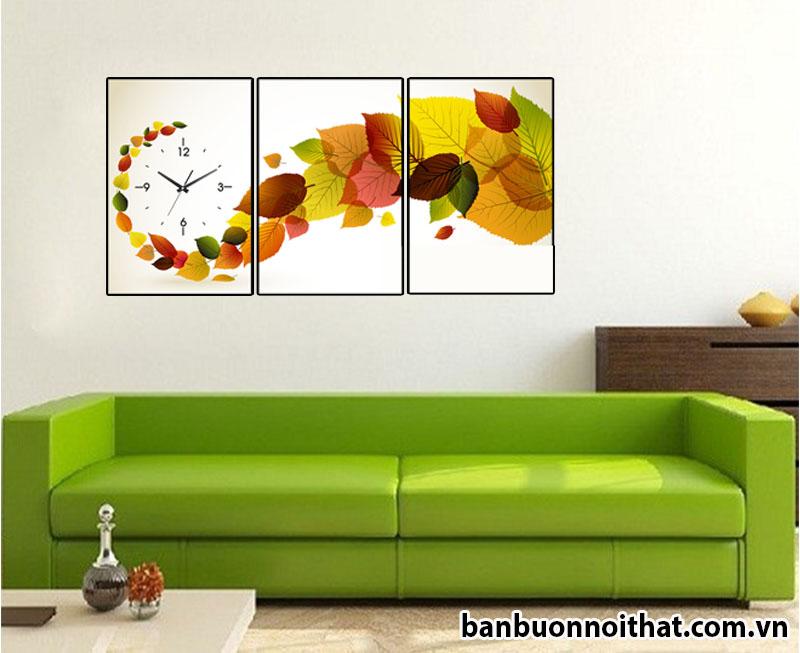 Đồng hồ tranh đẹp hình lá cây độc đáo dễ dàng kết hợp với nhiều không gian nội thất khác nhau.