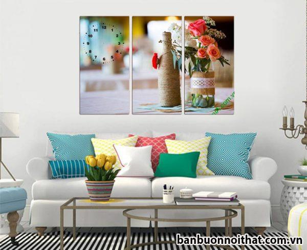Đồng hồ tranh hoa hồng đẹp hợp trang trí không gian trẻ trung, lãng mạn