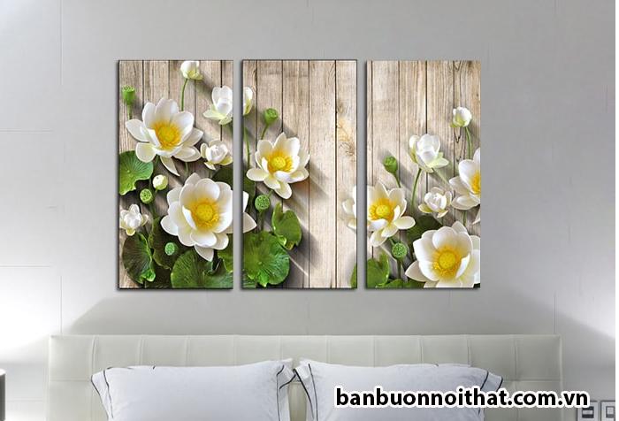 Tranh hoa sen được bán buôn tại xưởng sản xuất tranh in ép gỗ Amia