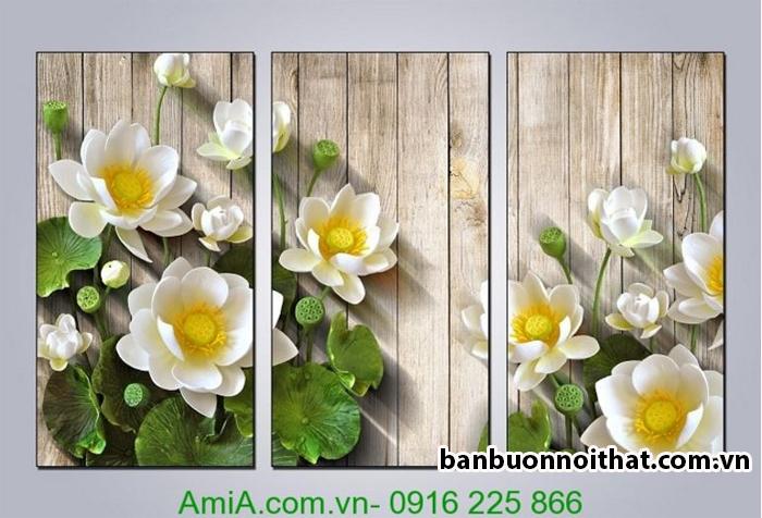 Tranh hoa sen trắng thiết kế 3D tạo cảm giác nổi trang trí nội thất đơn giản