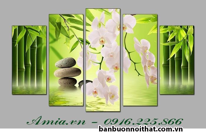 Bán buôn tranh hoa lan trắng trang trí Spa