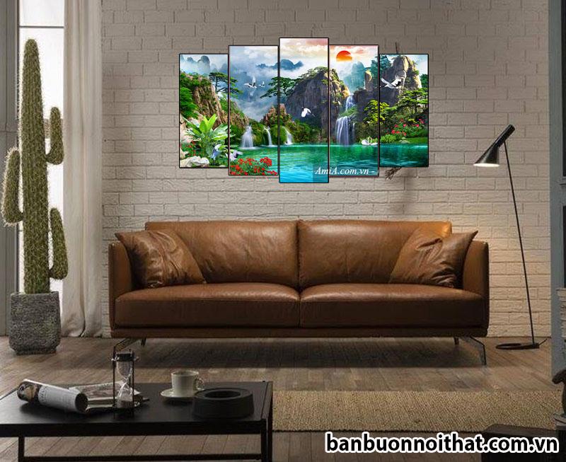 Tranh phong cảnh sơn thủy hữu tình ghép 5 tấm in ép gỗ siêu nét