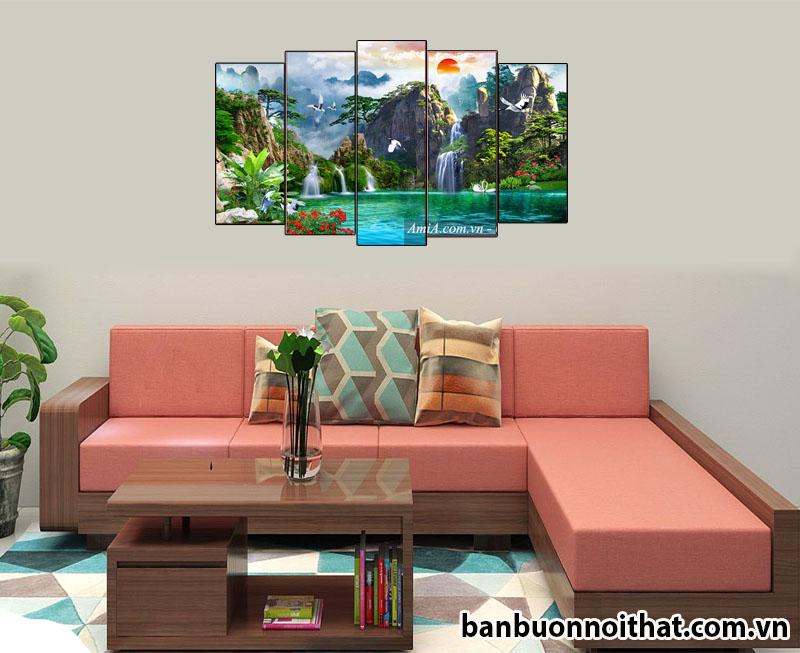 Hình ảnh tranh phong cảnh sơn thủy hữu tình trong phòng khách sofa gỗ chữ L