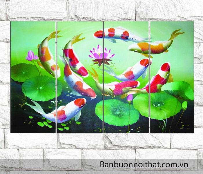 Được bán buôn, bán sỉ tại Amia mẫu tranh cá chép hoa sen này rất thích hợp treo trong các không gian được thiết kế có thác nhân tạo