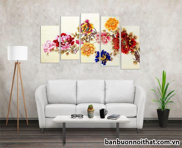 Tranh hoa mẫu đơn Amia 1090 kết hợp hài hòa với nhiều phong cách nội thất